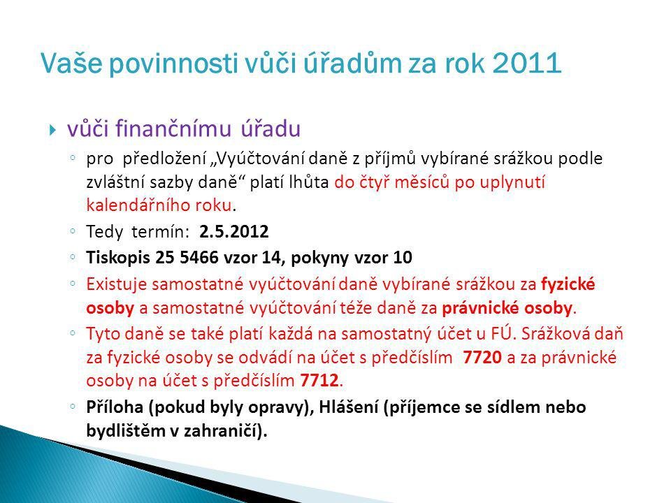 Vaše povinnosti vůči úřadům za rok 2011