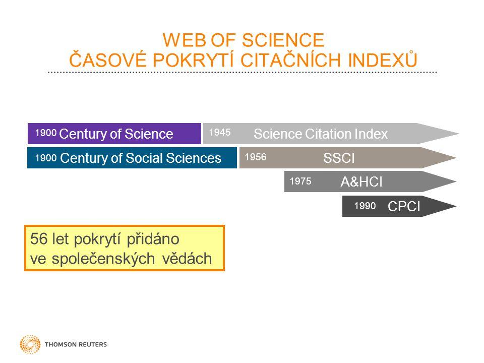 WEB OF SCIENCE ČASOVÉ POKRYTÍ CITAČNÍCH INDEXŮ