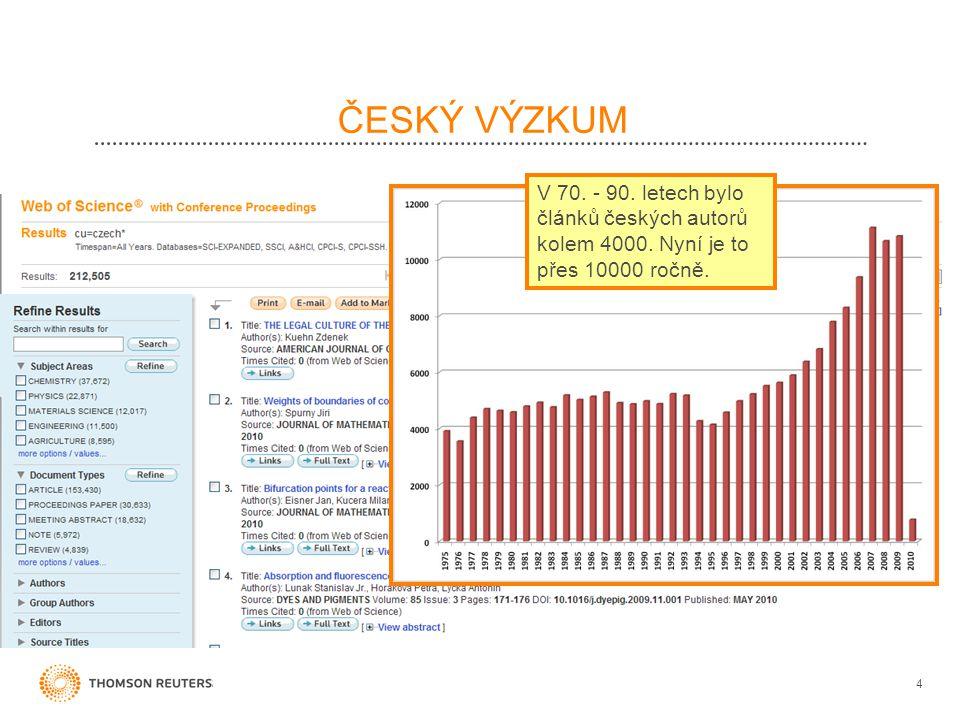 ČESKÝ VÝZKUM V 70. - 90. letech bylo článků českých autorů kolem 4000. Nyní je to přes 10000 ročně.