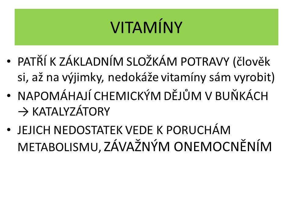 VITAMÍNY PATŘÍ K ZÁKLADNÍM SLOŽKÁM POTRAVY (člověk si, až na výjimky, nedokáže vitamíny sám vyrobit)