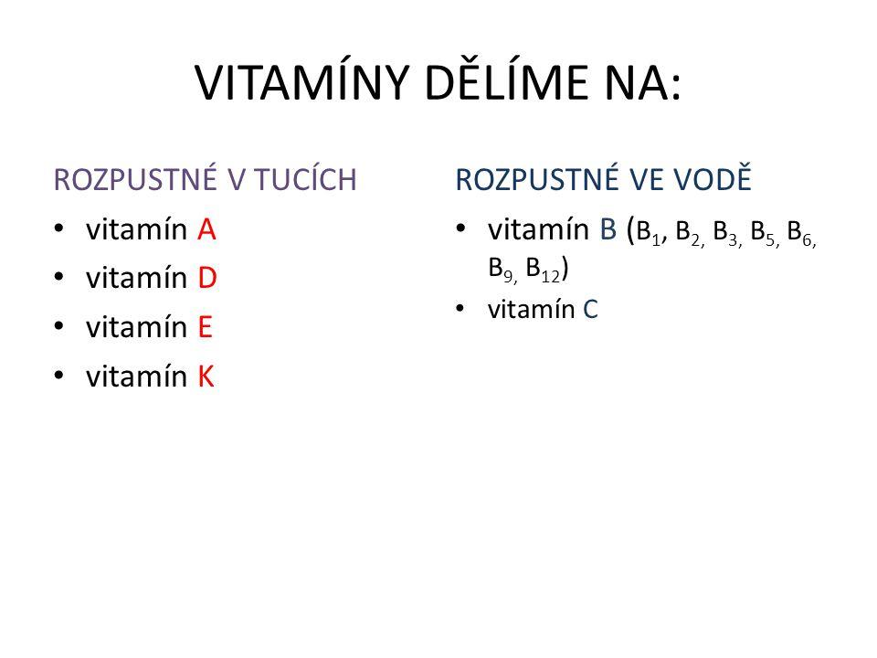 VITAMÍNY DĚLÍME NA: ROZPUSTNÉ V TUCÍCH vitamín A vitamín D vitamín E