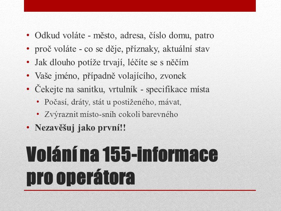 Volání na 155-informace pro operátora