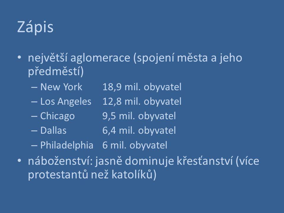 Zápis největší aglomerace (spojení města a jeho předměstí)