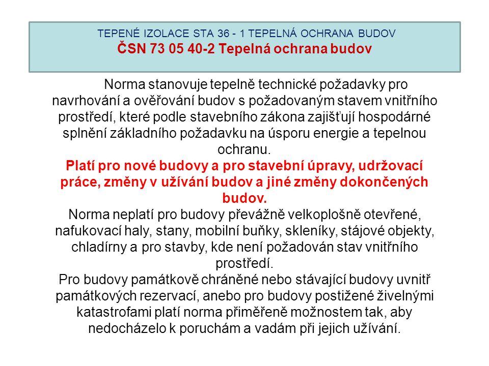 TEPENÉ IZOLACE STA 36 - 1 TEPELNÁ OCHRANA BUDOV ČSN 73 05 40-2 Tepelná ochrana budov