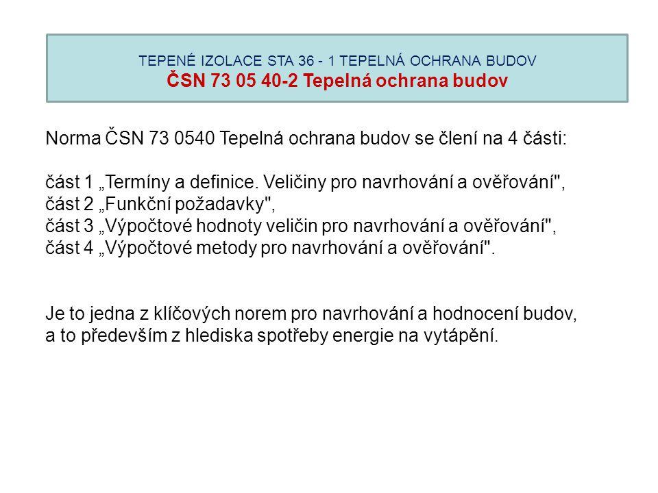 Norma ČSN 73 0540 Tepelná ochrana budov se člení na 4 části: