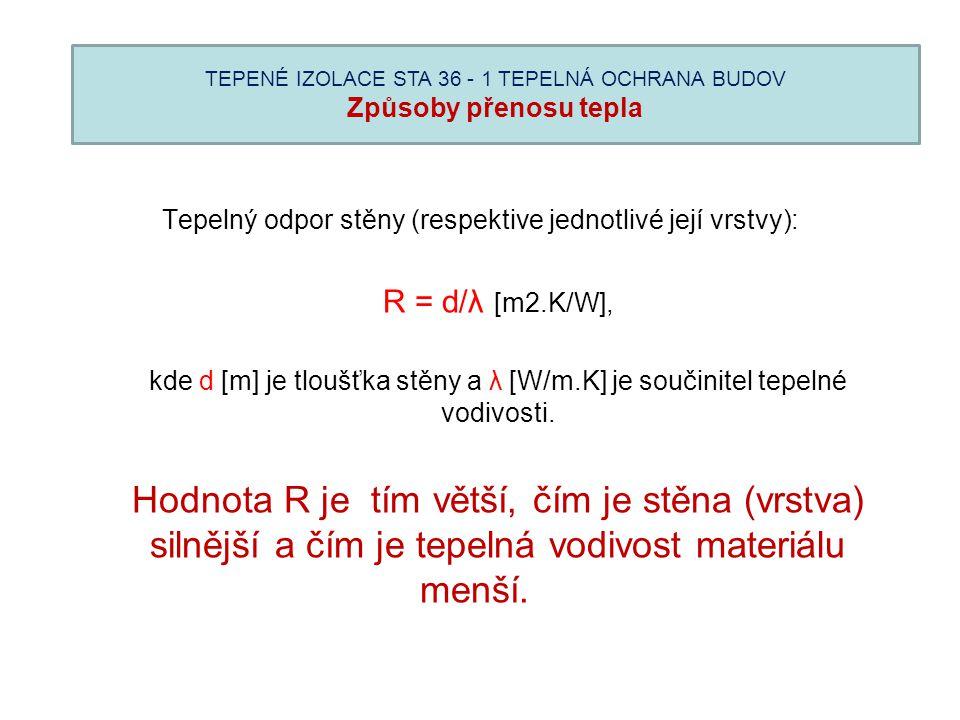 TEPENÉ IZOLACE STA 36 - 1 TEPELNÁ OCHRANA BUDOV Způsoby přenosu tepla