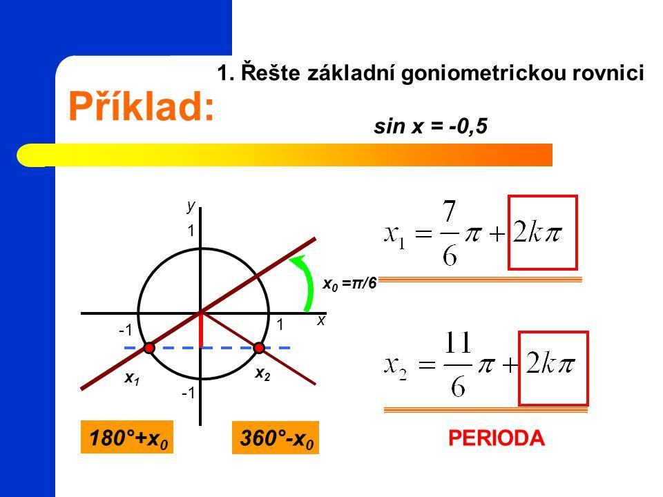 1. Řešte základní goniometrickou rovnici