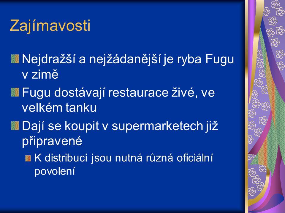 Zajímavosti Nejdražší a nejžádanější je ryba Fugu v zimě