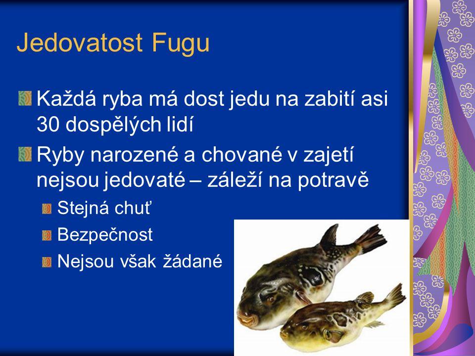 Jedovatost Fugu Každá ryba má dost jedu na zabití asi 30 dospělých lidí. Ryby narozené a chované v zajetí nejsou jedovaté – záleží na potravě.
