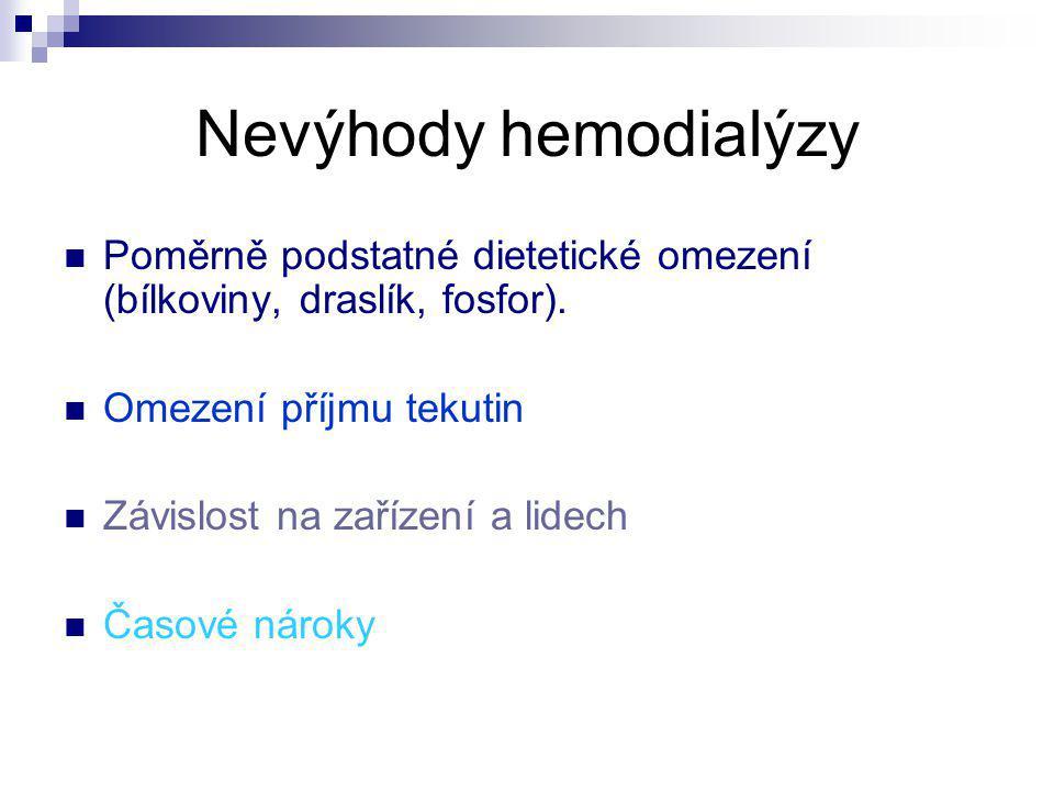Nevýhody hemodialýzy Poměrně podstatné dietetické omezení (bílkoviny, draslík, fosfor). Omezení příjmu tekutin.