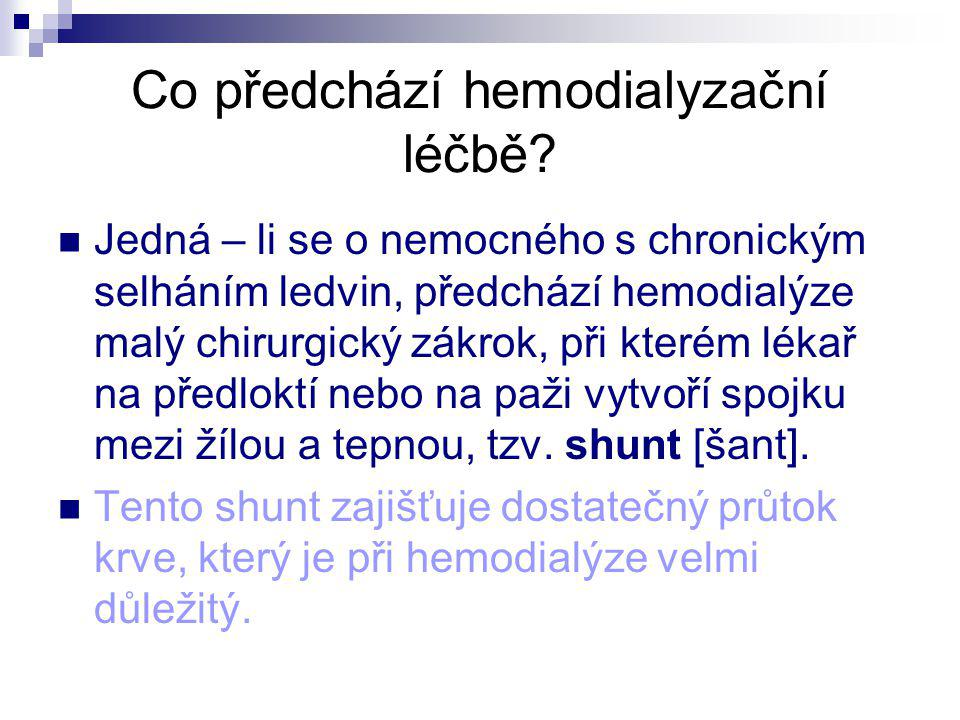 Co předchází hemodialyzační léčbě