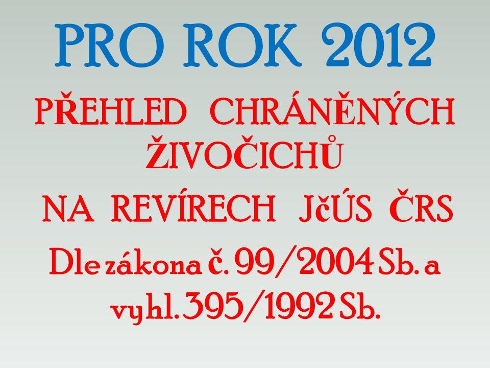 PRO ROK 2012 PŘEHLED CHRÁNĚNÝCH ŽIVOČICHŮ NA REVÍRECH JčÚS ČRS Dle zákona č.