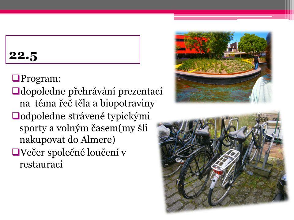 22.5 Program: dopoledne přehrávání prezentací na téma řeč těla a biopotraviny.