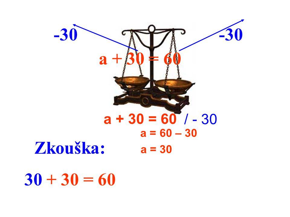 -30 -30 a + 30 = 60 Zkouška: 30 + 30 = 60 a + 30 = 60 / - 30