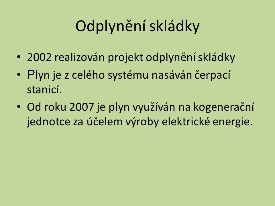 Odplynění skládky 2002 realizován projekt odplynění skládky
