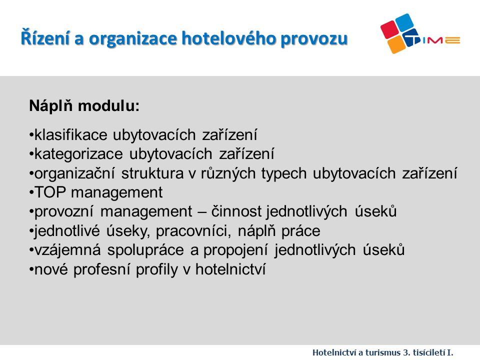 Řízení a organizace hotelového provozu
