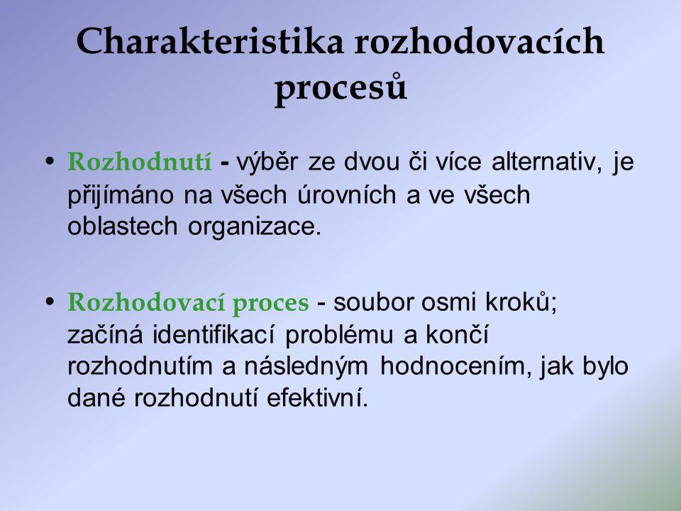 Charakteristika rozhodovacích procesů