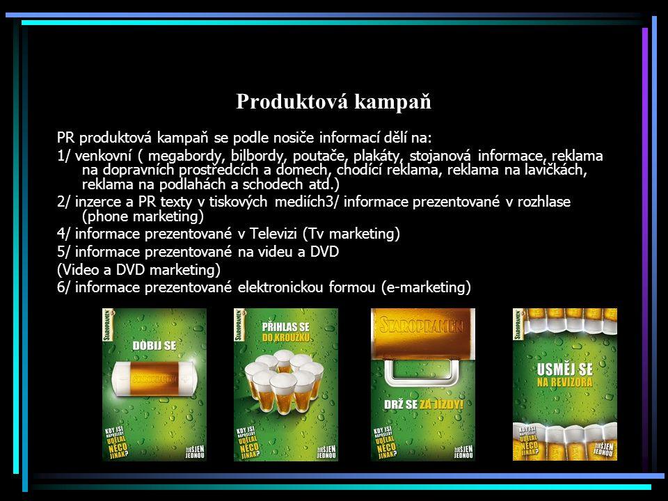 Produktová kampaň PR produktová kampaň se podle nosiče informací dělí na: