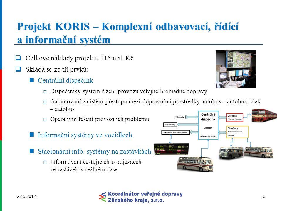 Projekt KORIS – Komplexní odbavovací, řídící a informační systém