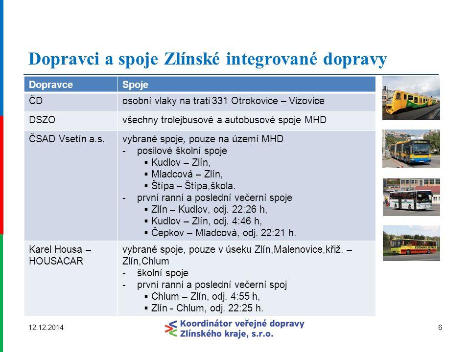 Dopravci a spoje Zlínské integrované dopravy