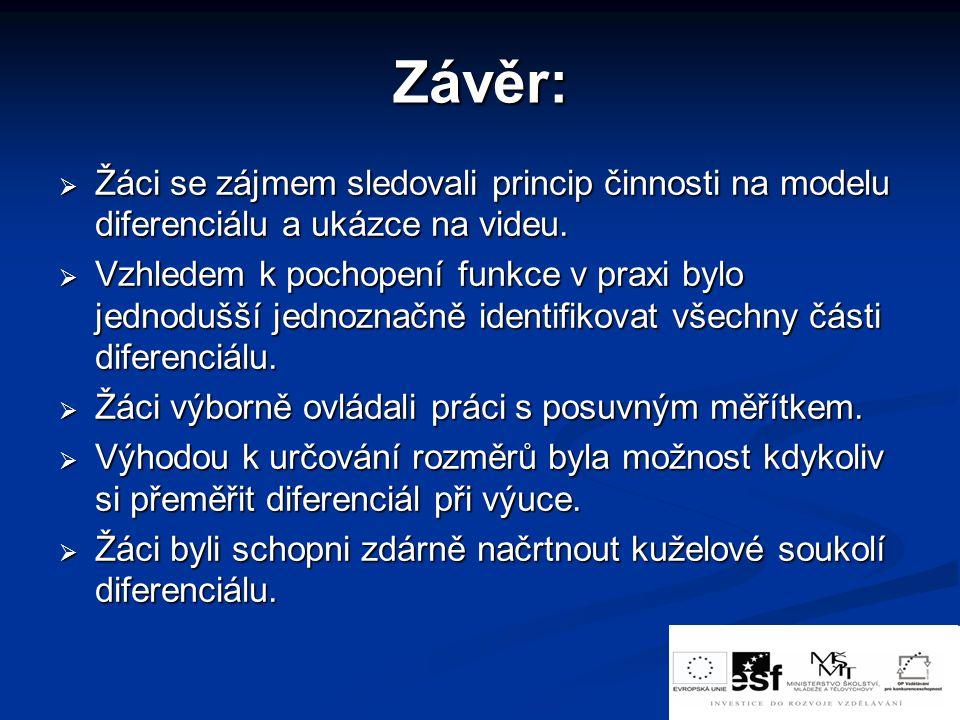 Závěr: Žáci se zájmem sledovali princip činnosti na modelu diferenciálu a ukázce na videu.