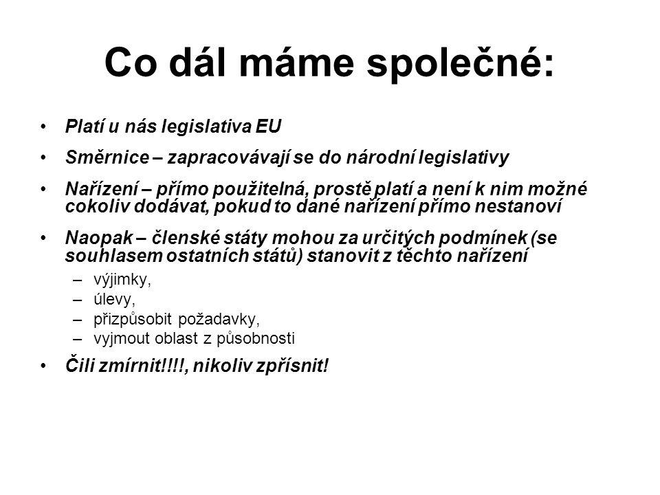 Co dál máme společné: Platí u nás legislativa EU