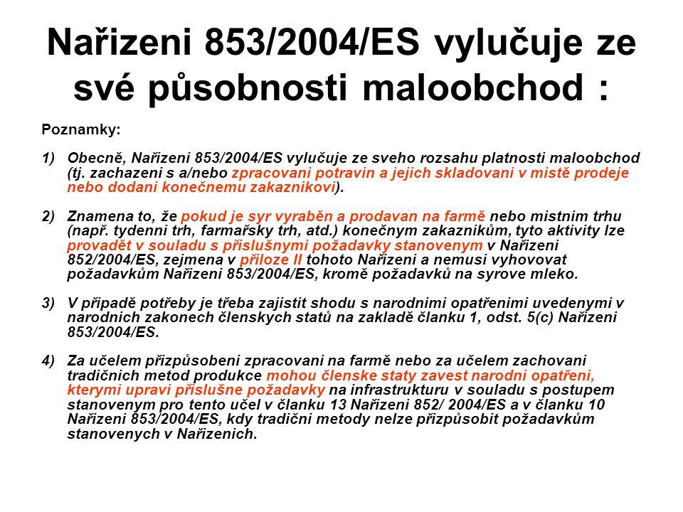 Nařizeni 853/2004/ES vylučuje ze své působnosti maloobchod :
