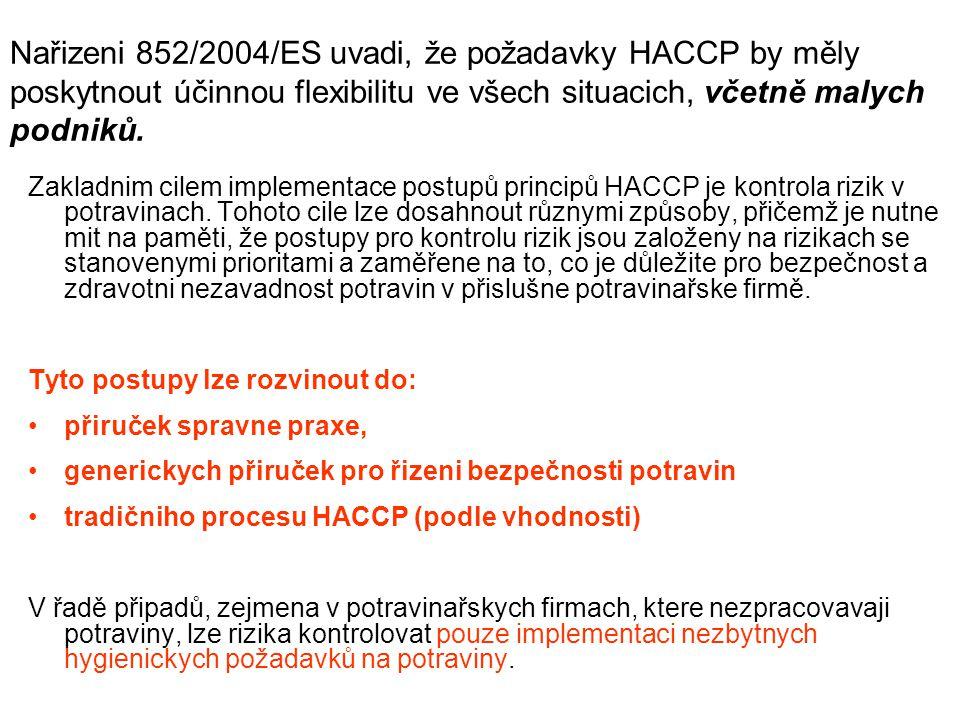 Nařizeni 852/2004/ES uvadi, že požadavky HACCP by měly poskytnout účinnou flexibilitu ve všech situacich, včetně malych podniků.