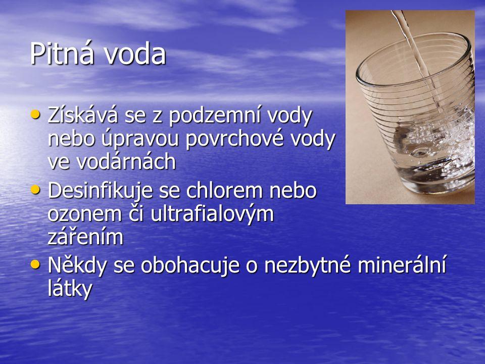 Pitná voda Získává se z podzemní vody nebo úpravou povrchové vody ve vodárnách.