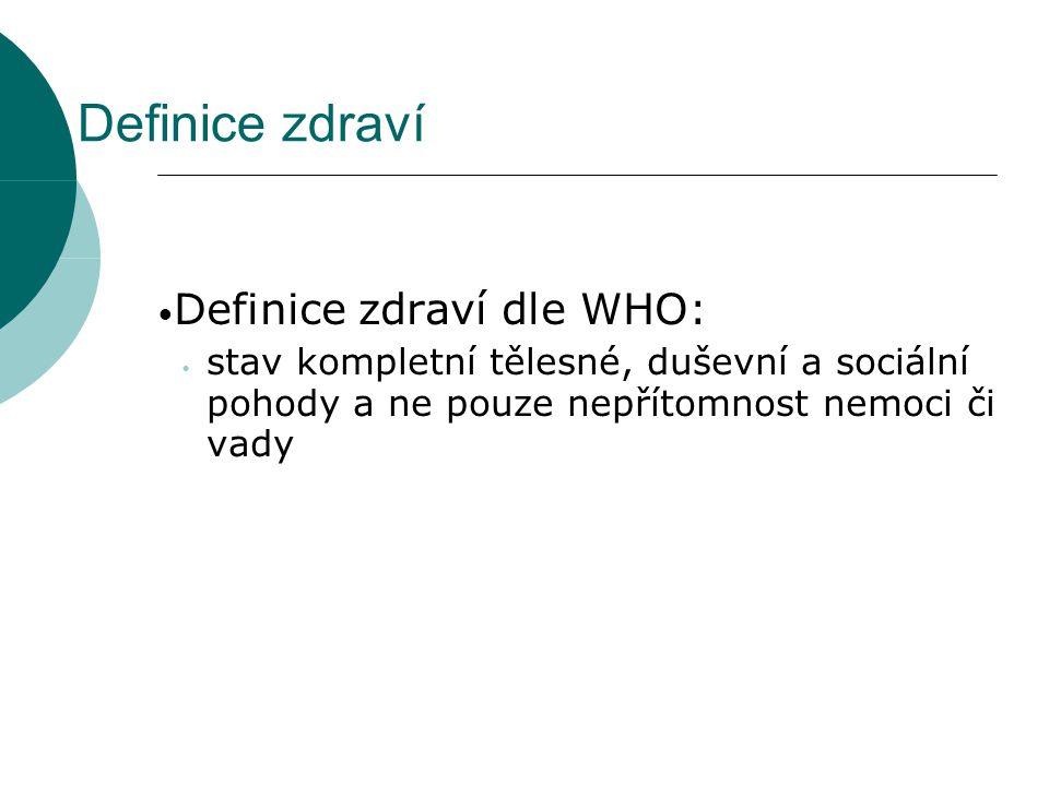 Definice zdraví Definice zdraví dle WHO: