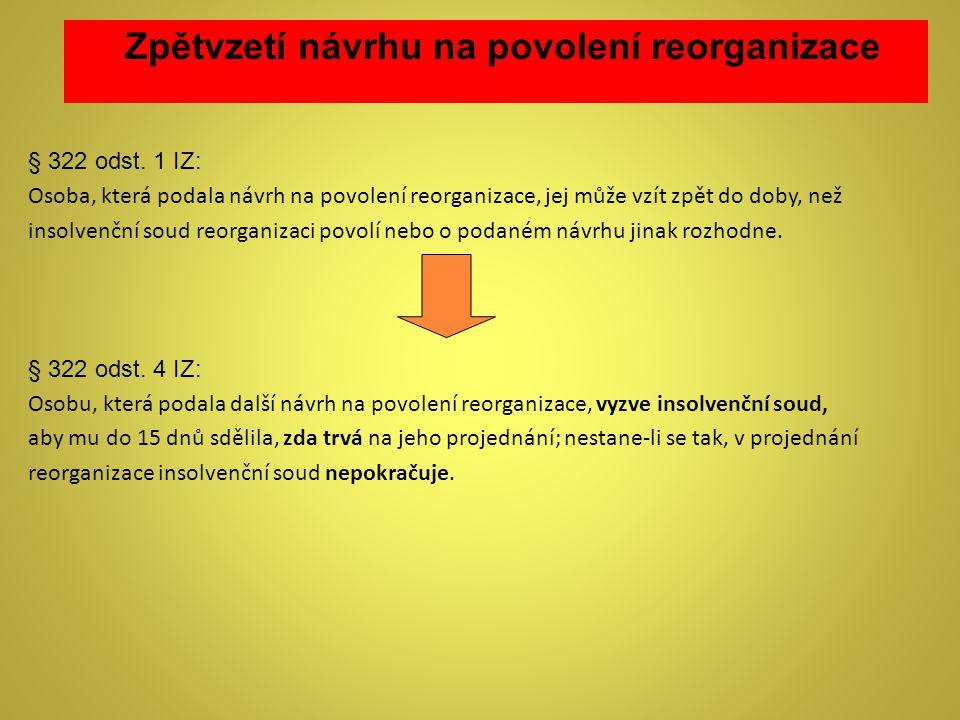 Zpětvzetí návrhu na povolení reorganizace