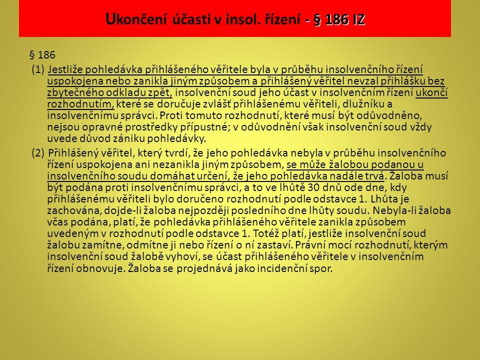 Ukončení účasti v insol. řízení - § 186 IZ