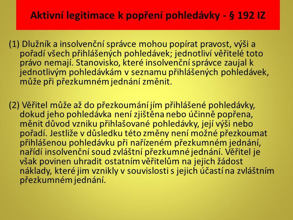 Aktivní legitimace k popření pohledávky - § 192 IZ