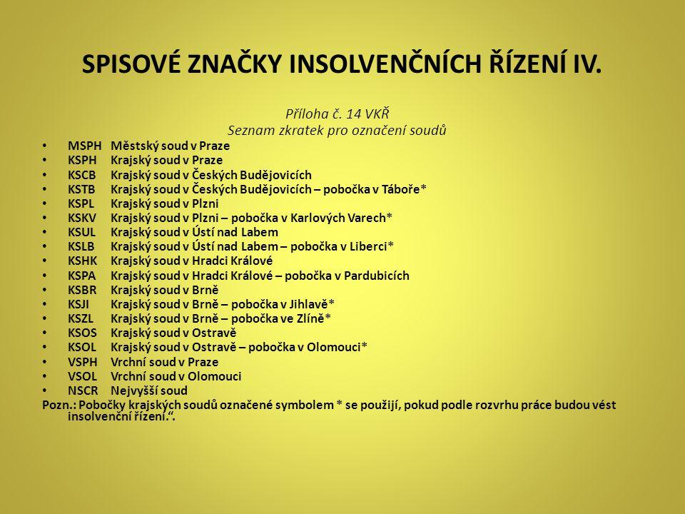 SPISOVÉ ZNAČKY INSOLVENČNÍCH ŘÍZENÍ IV.