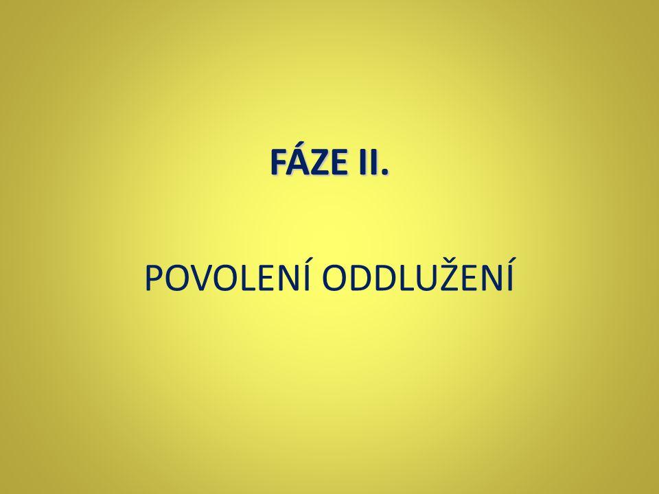FÁZE II. POVOLENÍ ODDLUŽENÍ