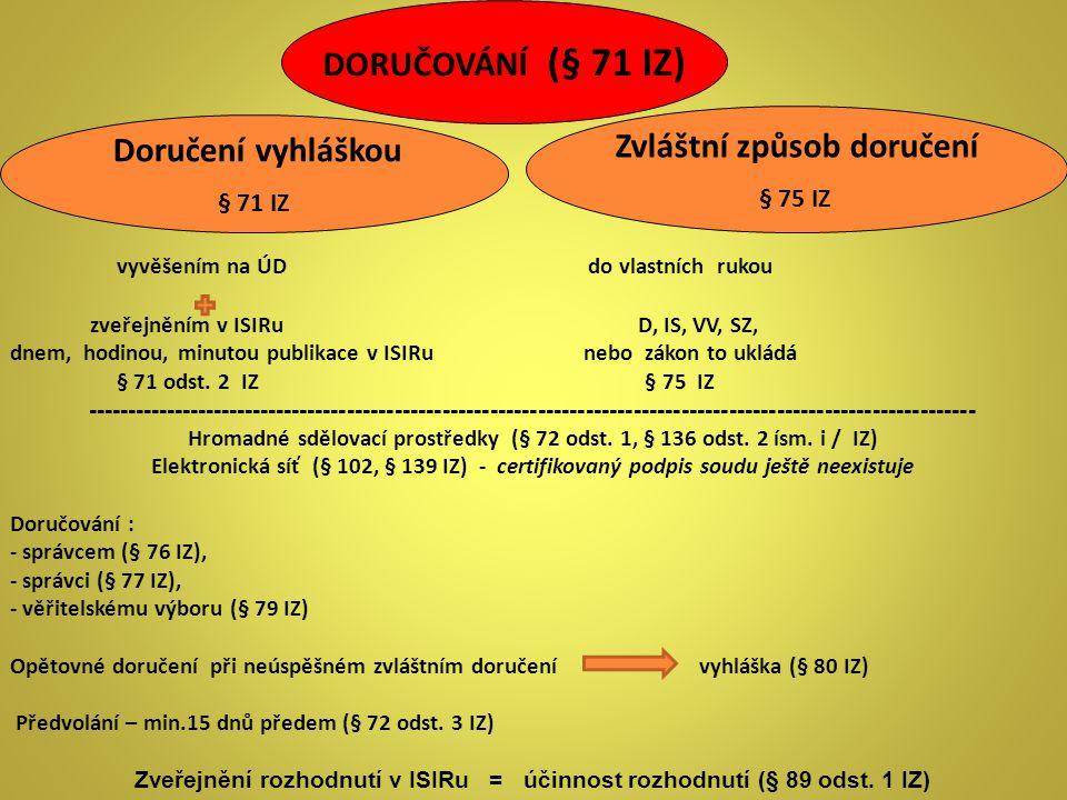 DORUČOVÁNÍ (§ 71 IZ) Zvláštní způsob doručení Doručení vyhláškou