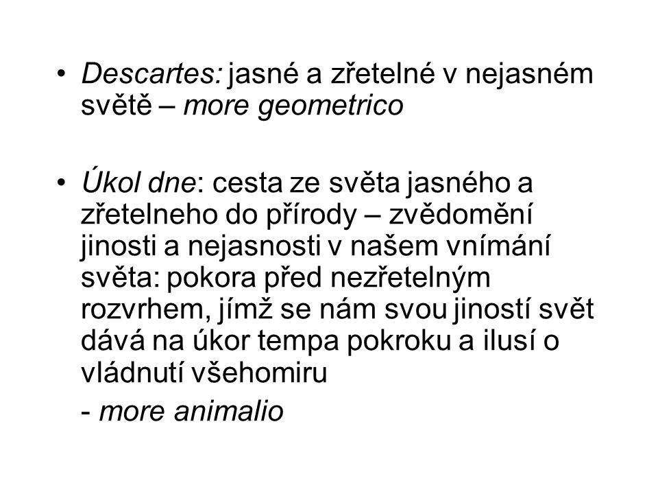 Descartes: jasné a zřetelné v nejasném světě – more geometrico