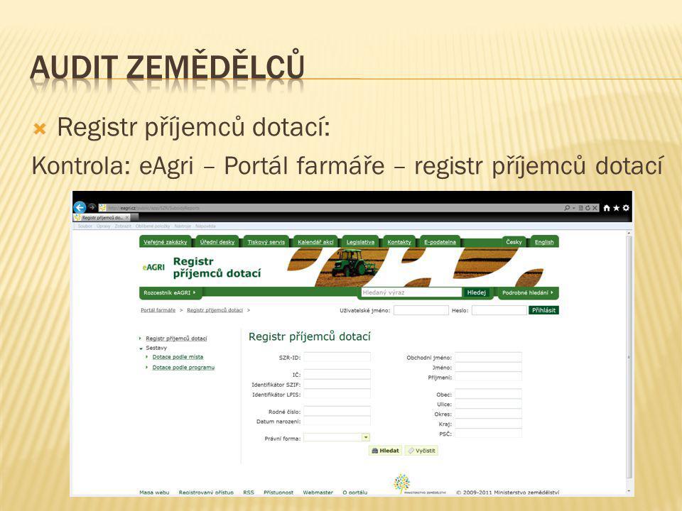Audit zemědělců Registr příjemců dotací: