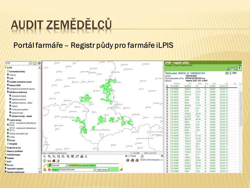 Audit zemědělců Portál farmáře – Registr půdy pro farmáře iLPIS
