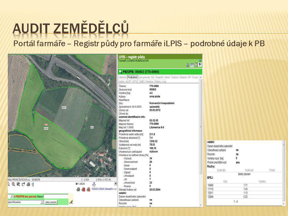 Audit zemědělců Portál farmáře – Registr půdy pro farmáře iLPIS – podrobné údaje k PB