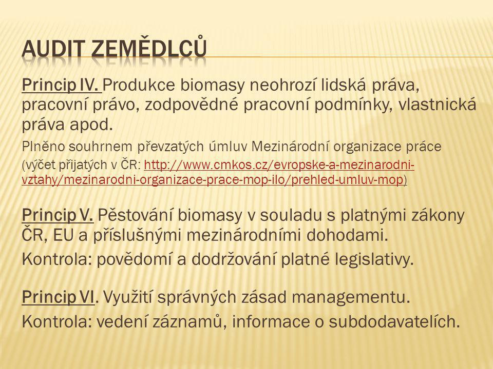 Audit zemědlců Princip IV. Produkce biomasy neohrozí lidská práva, pracovní právo, zodpovědné pracovní podmínky, vlastnická práva apod.