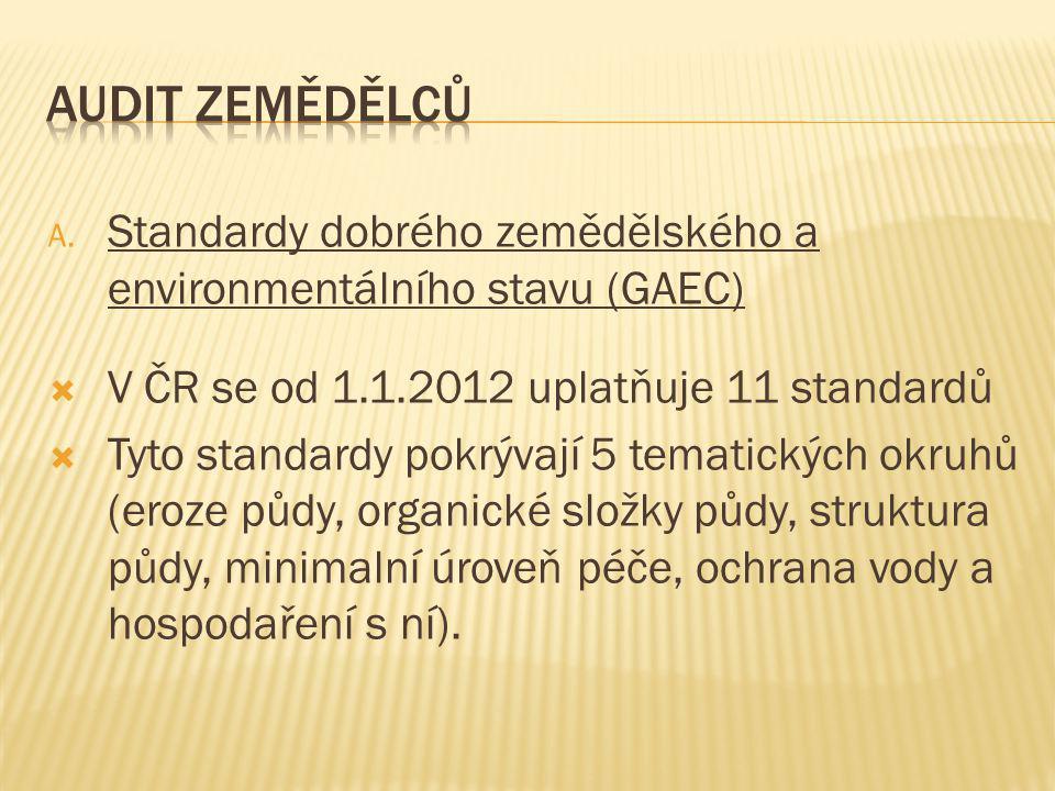 Audit Zemědělců Standardy dobrého zemědělského a environmentálního stavu (GAEC) V ČR se od 1.1.2012 uplatňuje 11 standardů.