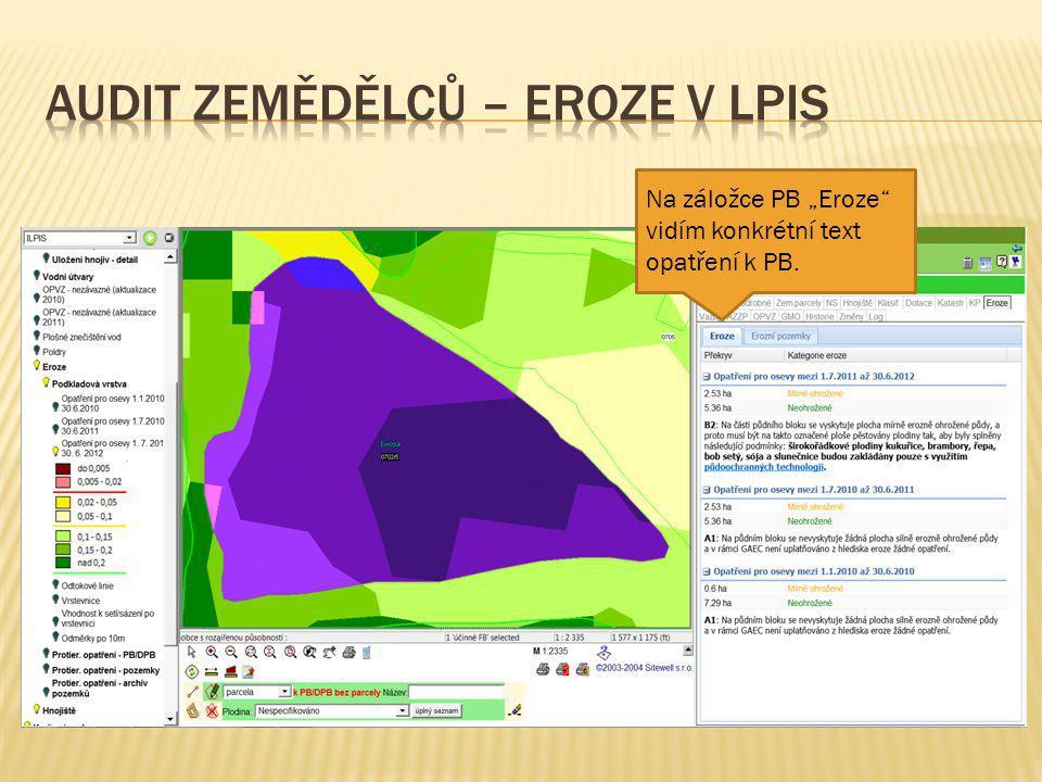 Audit zemědělců – eroze v LPIS