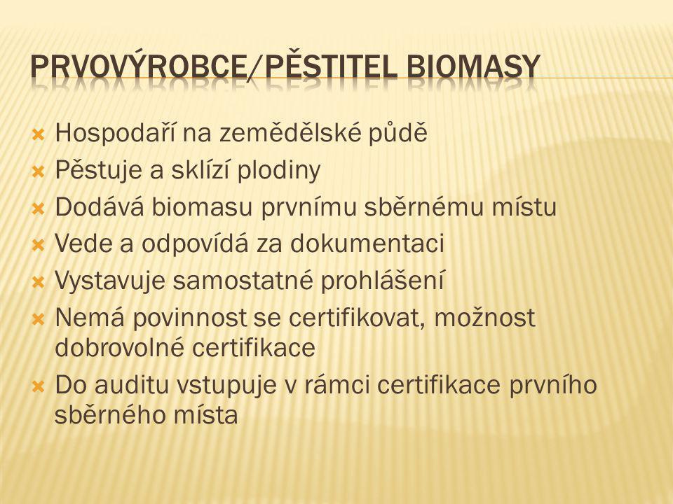 Prvovýrobce/pěstitel biomasy