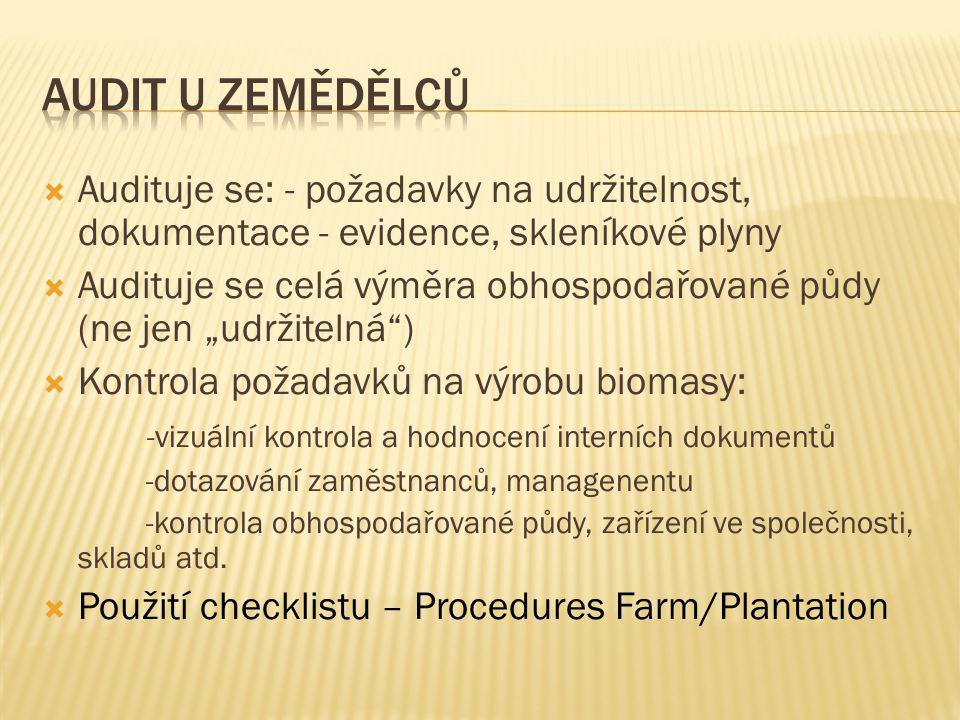 Audit u zemědělců Audituje se: - požadavky na udržitelnost, dokumentace - evidence, skleníkové plyny.