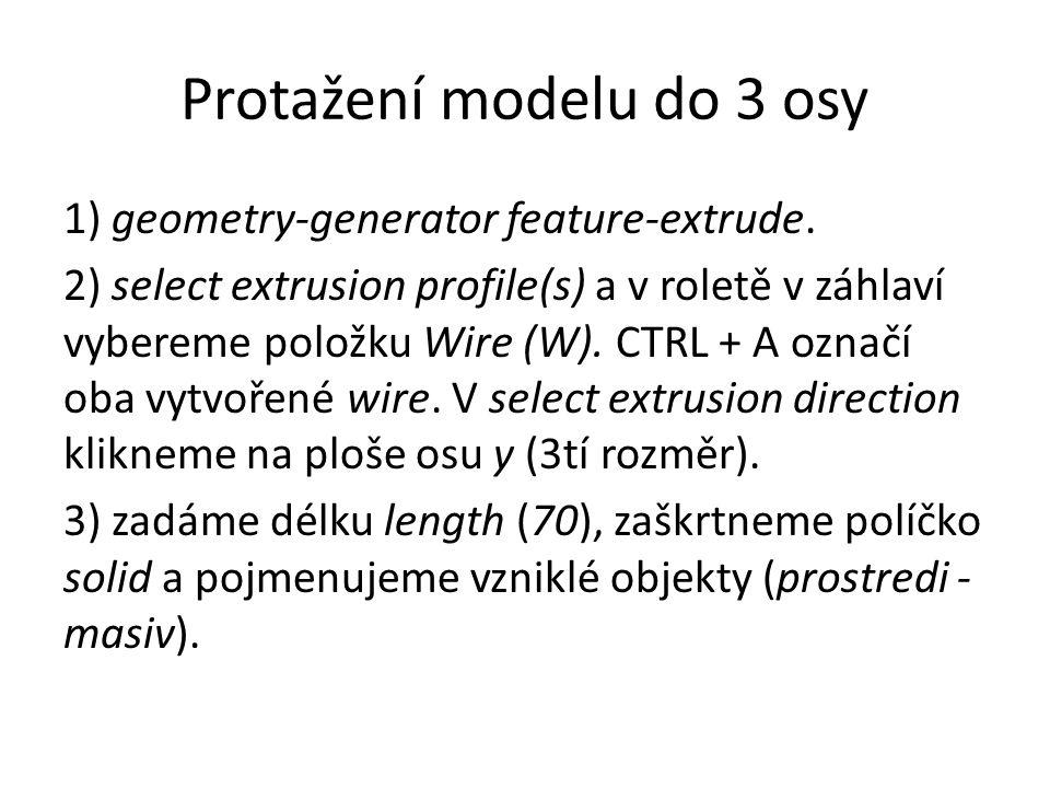 Protažení modelu do 3 osy