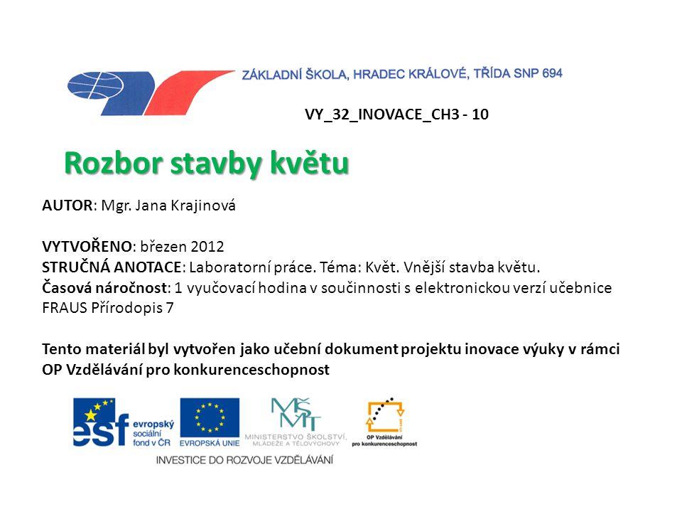 Rozbor stavby květu VY_32_INOVACE_CH3 - 10 AUTOR: Mgr. Jana Krajinová