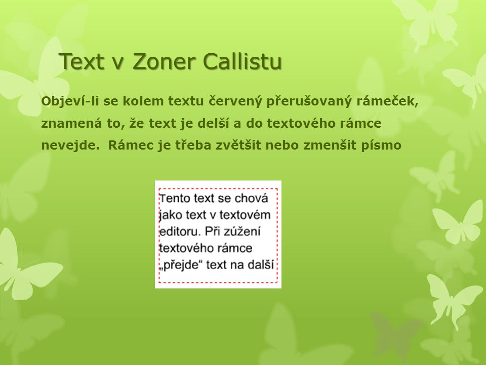 Text v Zoner Callistu