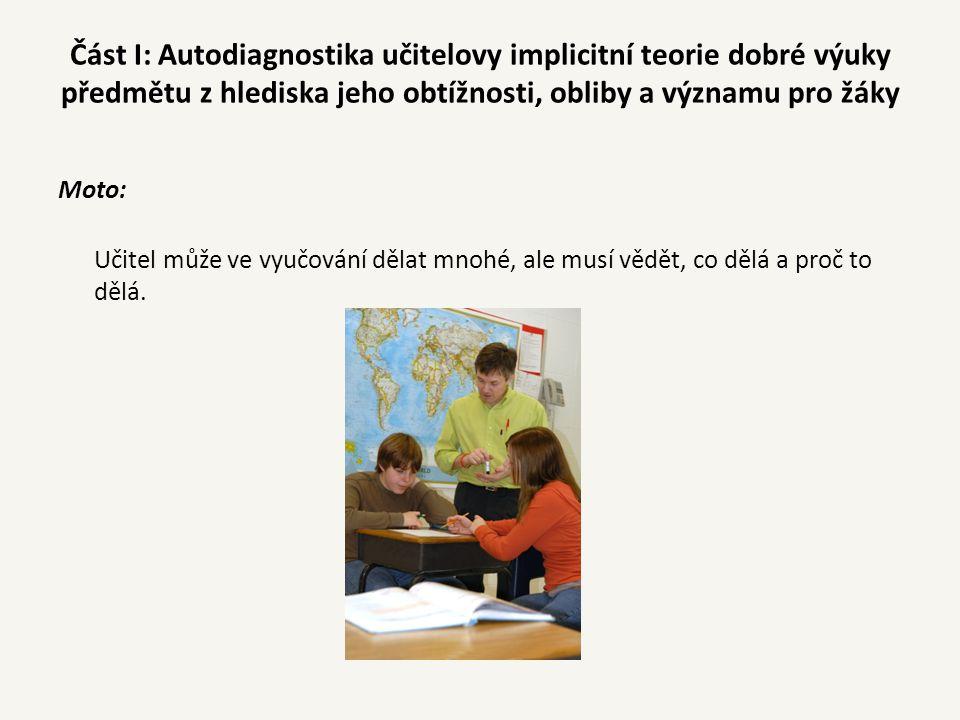 Část I: Autodiagnostika učitelovy implicitní teorie dobré výuky předmětu z hlediska jeho obtížnosti, obliby a významu pro žáky