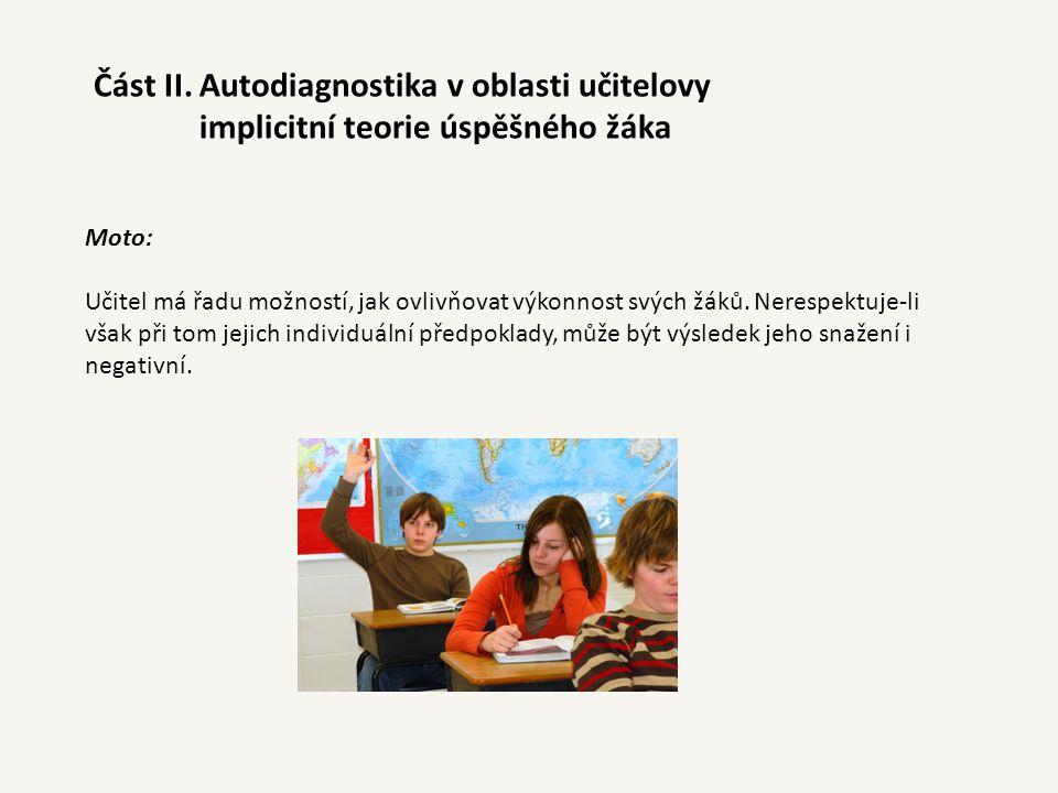 Část II. Autodiagnostika v oblasti učitelovy